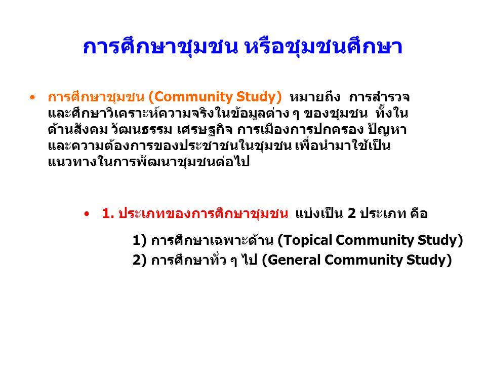 การศึกษาชุมชน หรือชุมชนศึกษา การศึกษาชุมชน (Community Study) หมายถึง การสำรวจ และศึกษาวิเคราะห์ความจริงในข้อมูลต่าง ๆ ของชุมชน ทั้งใน ด้านสังคม วัฒนธร