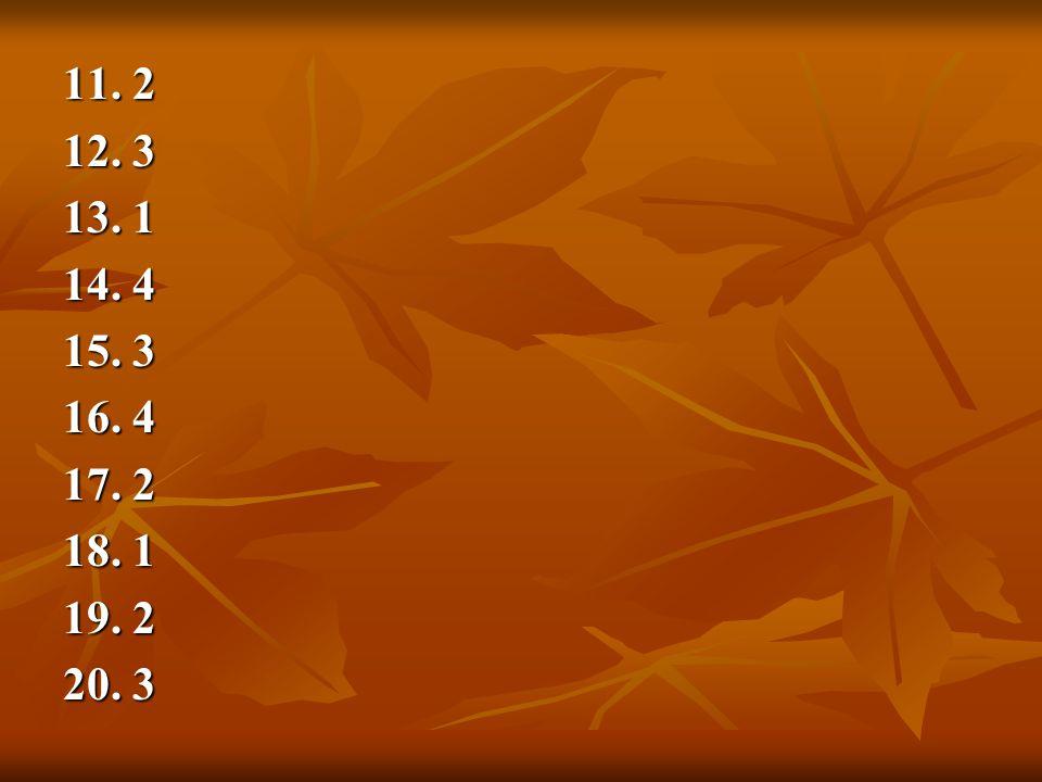 11. 2 12. 3 13. 1 14. 4 15. 3 16. 4 17. 2 18. 1 19. 2 20. 3