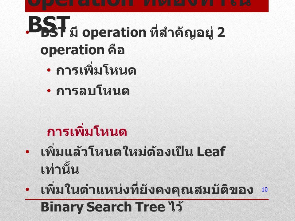 operation ที่ต้องทำใน BST BST มี operation ที่สำคัญอยู่ 2 operation คือ การเพิ่มโหนด การลบโหนด การเพิ่มโหนด เพิ่มแล้วโหนดใหม่ต้องเป็น Leaf เท่านั้น เพ