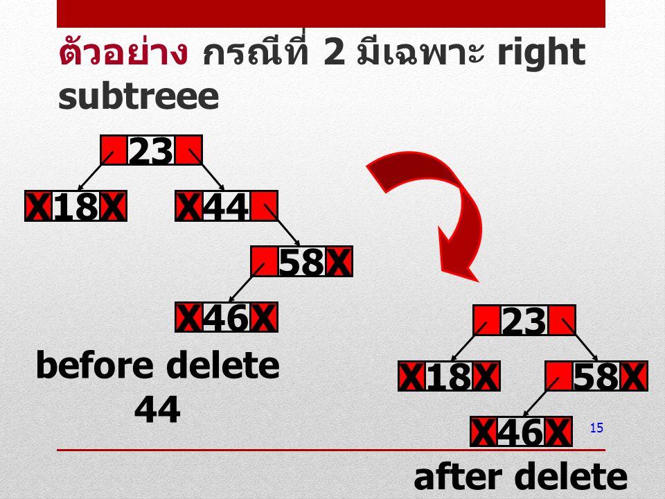 15 ตัวอย่าง กรณีที่ 2 มีเฉพาะ right subtreee 23 18XX44X before delete 44 46XX 58X after delete 44 23 18XX 46XX 58X