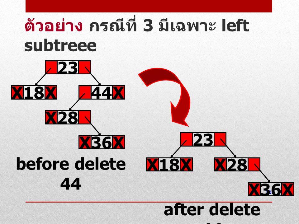 16 ตัวอย่าง กรณีที่ 3 มีเฉพาะ left subtreee 23 18XX44X before delete 44 36XX 28X 23 18XX after delete 44 36XX 28X