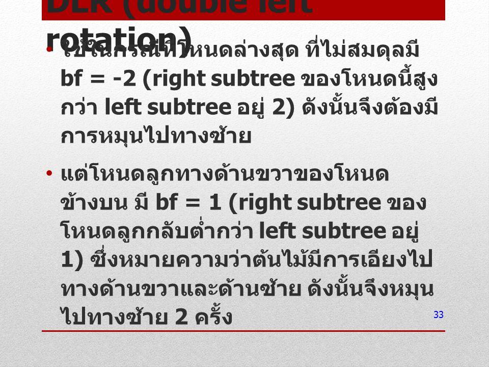 DLR (double left rotation) ใช้ในกรณีที่โหนดล่างสุด ที่ไม่สมดุลมี bf = -2 (right subtree ของโหนดนี้สูง กว่า left subtree อยู่ 2) ดังนั้นจึงต้องมี การหม
