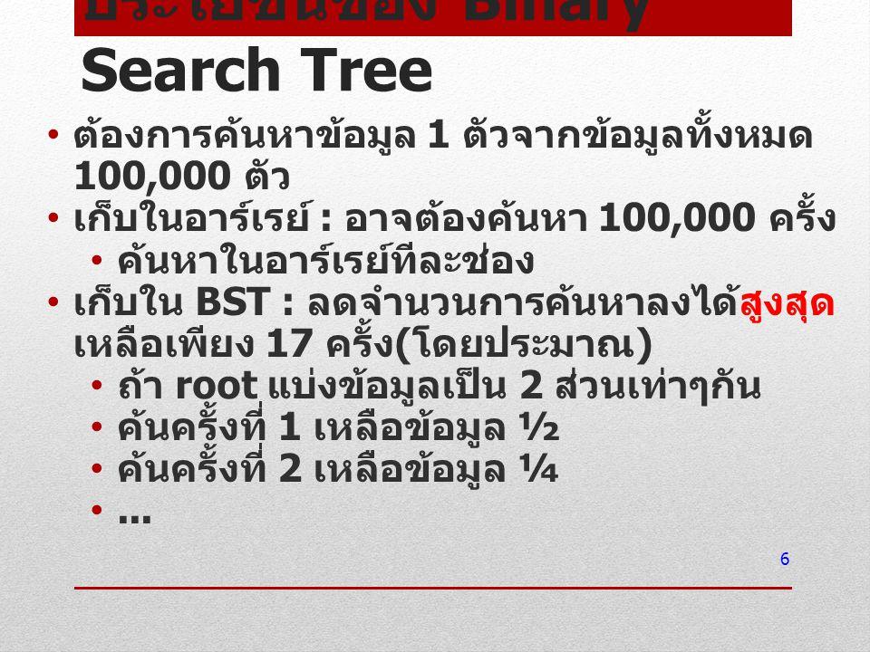 ประโยชน์ของ Binary Search Tree ต้องการค้นหาข้อมูล 1 ตัวจากข้อมูลทั้งหมด 100,000 ตัว เก็บในอาร์เรย์ : อาจต้องค้นหา 100,000 ครั้ง ค้นหาในอาร์เรย์ทีละช่อ