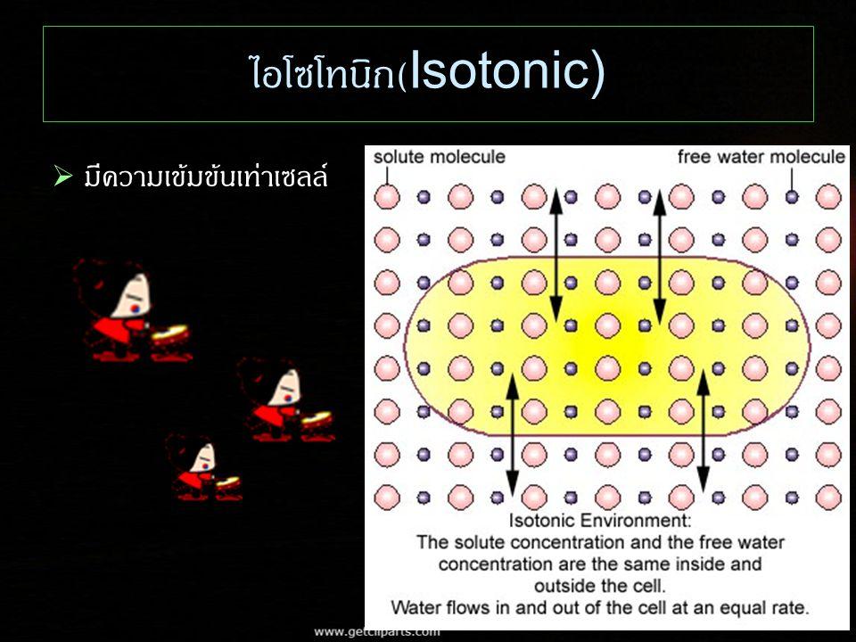 ไอโซโทนิก (Isotonic)  มีความเข้มข้นเท่าเซลล์