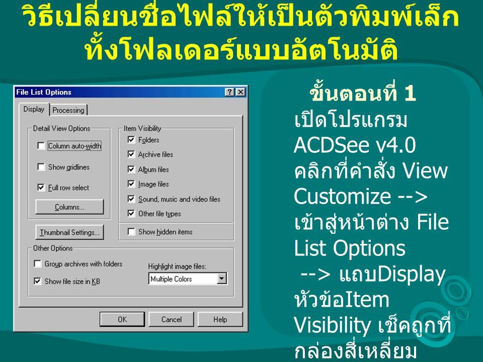 วิธีเปลี่ยนชื่อไฟล์ให้เป็นตัวพิมพ์เล็ก ทั้งโฟลเดอร์แบบอัตโนมัติ ขั้นตอนที่ 1 เปิดโปรแกรม ACDSee v4.0 คลิกที่คำสั่ง View Customize --> เข้าสู่หน้าต่าง