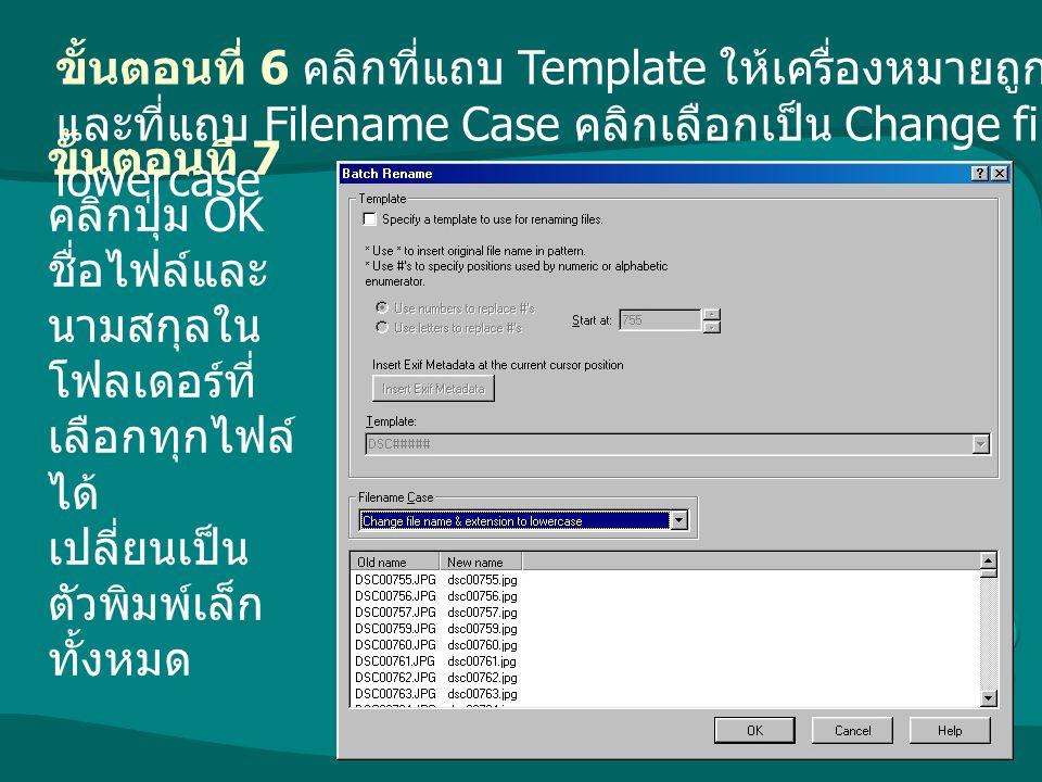 ขั้นตอนที่ 6 คลิกที่แถบ Template ให้เครื่องหมายถูกในกล่องสีขาวหายไป และที่แถบ Filename Case คลิกเลือกเป็น Change file name & extension to lowercase ขั
