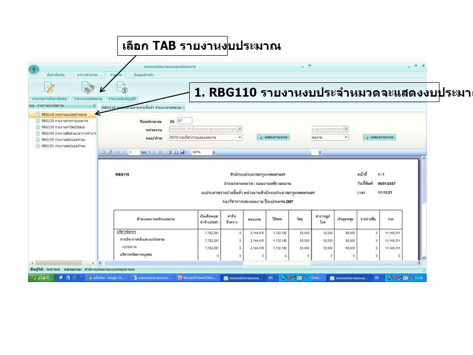 เลือก TAB รายงานงบประมาณ 1. RBG110 รายงานงบประจำหมวดจะแสดงงบประมาณตามหมวดรายจ่าย