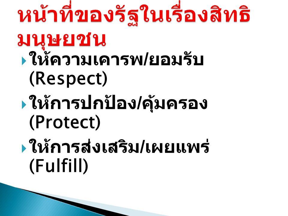  ให้ความเคารพ / ยอมรับ (Respect)  ให้การปกป้อง / คุ้มครอง (Protect)  ให้การส่งเสริม / เผยแพร่ (Fulfill)