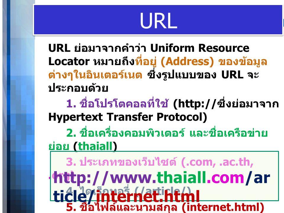 WWW.YOUR-COMPANY-URL.COM URL URL ย่อมาจากคำว่า Uniform Resource Locator หมายถึงที่อยู่ (Address) ของข้อมูล ต่างๆในอินเตอร์เนต ซึ่งรูปแบบของ URL จะ ประ