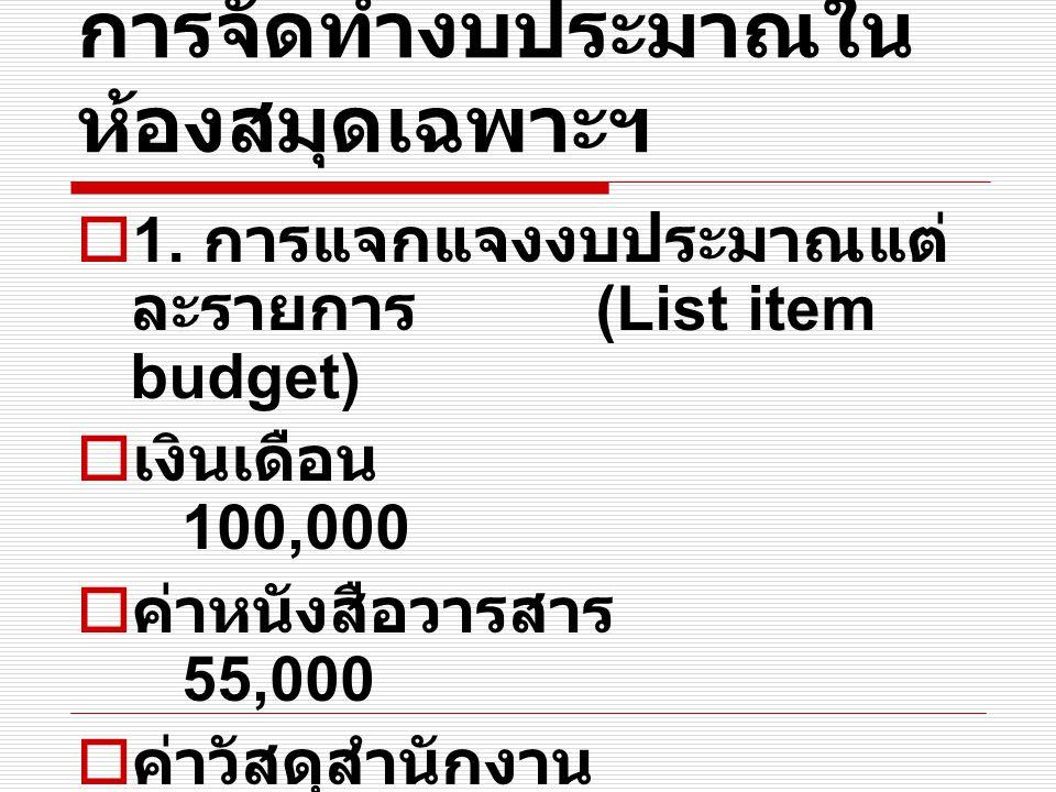 การจัดทำงบประมาณใน ห้องสมุดเฉพาะฯ  1. การแจกแจงงบประมาณแต่ ละรายการ (List item budget)  เงินเดือน 100,000  ค่าหนังสือวารสาร 55,000  ค่าวัสดุสำนักง