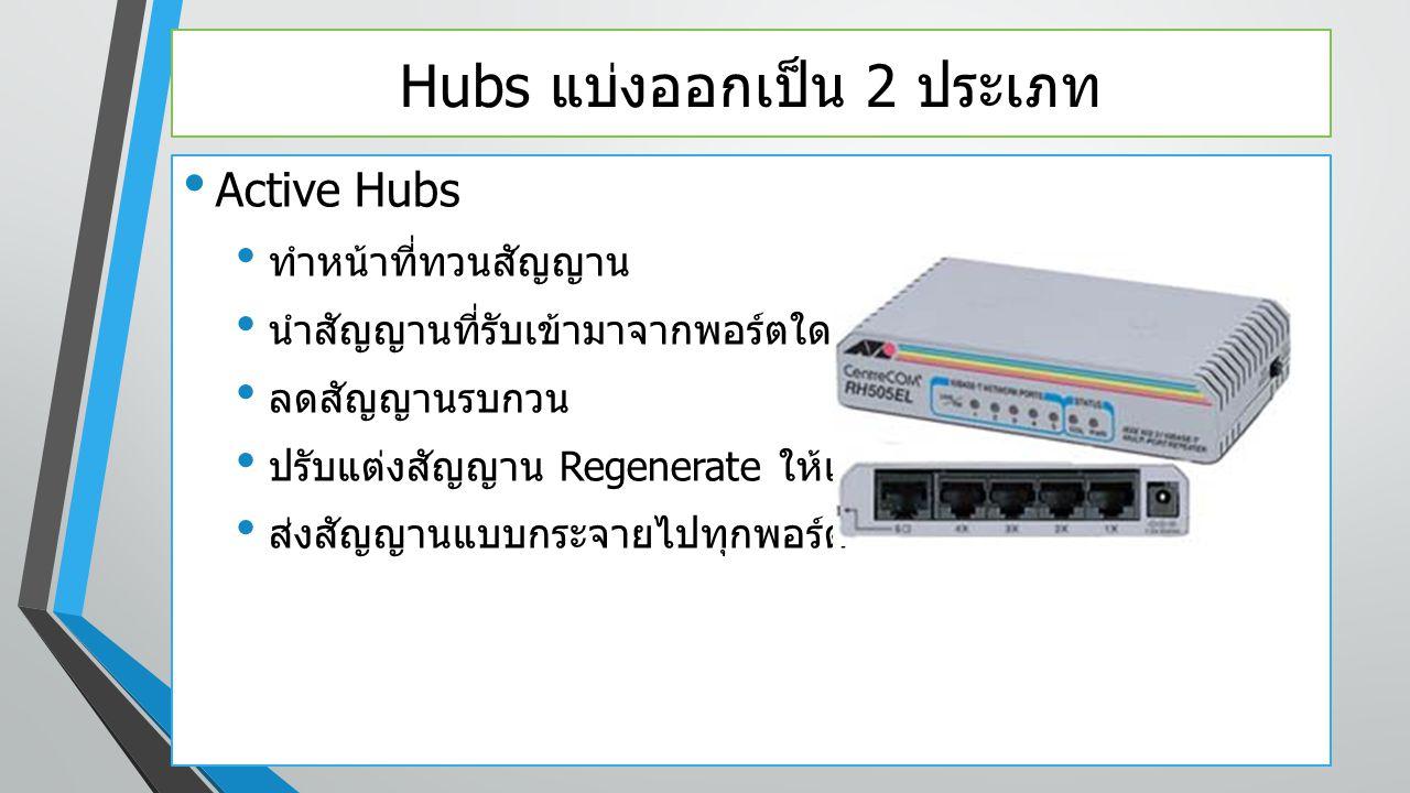 Hubs แบ่งออกเป็น 2 ประเภท Active Hubs ทำหน้าที่ทวนสัญญาน นำสัญญานที่รับเข้ามาจากพอร์ตใดพอร์ตหนึ่ง ลดสัญญานรบกวน ปรับแต่งสัญญาน Regenerate ให้เหมือนต้น