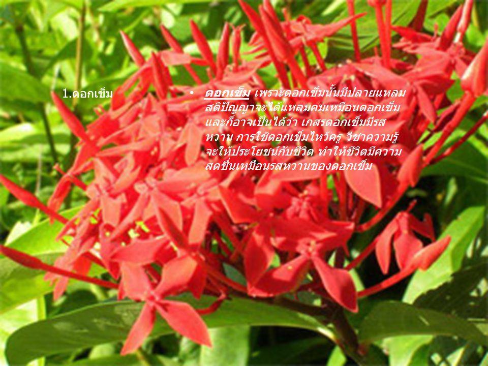 ดอกเข็ม เพราะดอกเข็มนั้นมีปลายแหลม สติปัญญาจะได้แหลมคมเหมือนดอกเข็ม และก็อาจเป็นได้ว่า เกสรดอกเข็มมีรส หวาน การใช้ดอกเข็มไหว้ครู วิชาความรู้ จะให้ประโ