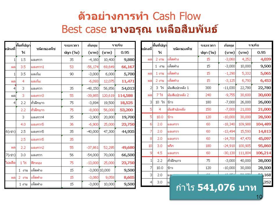 ตัวอย่างการทำ Cash Flow Best case นางอรุณ เหลือสืบพันธ์ กำไร 541,076 บาท 10