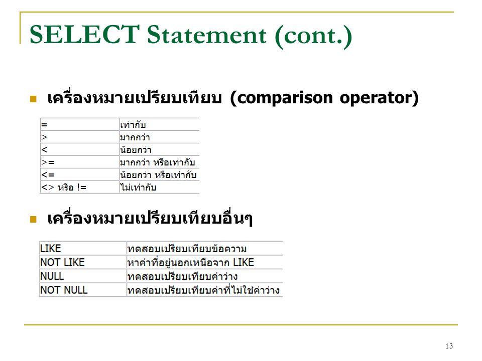 13 SELECT Statement (cont.) เครื่องหมายเปรียบเทียบ (comparison operator) เครื่องหมายเปรียบเทียบอื่นๆ