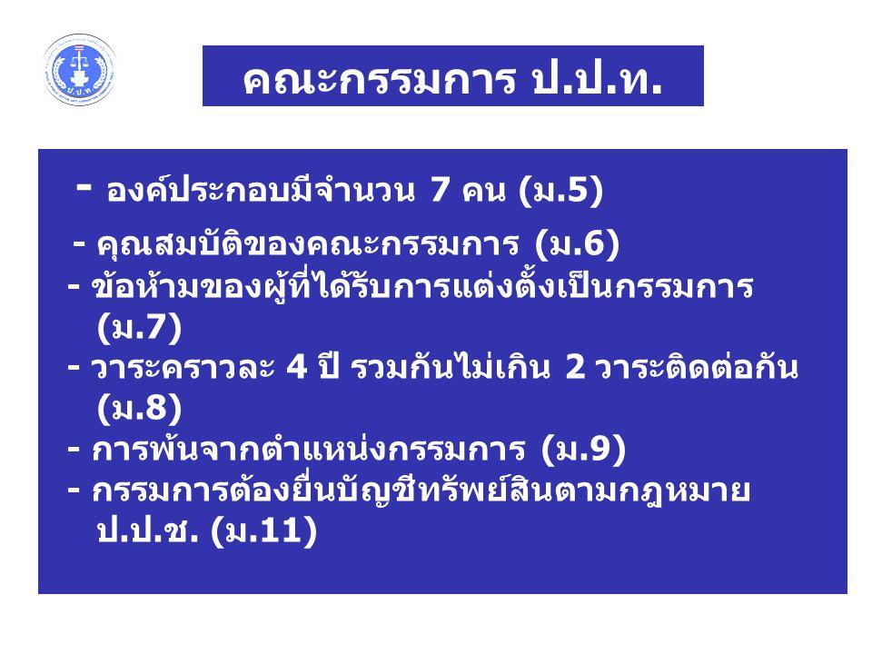 คณะกรรมการ ป.ป.ท. - องค์ประกอบมีจำนวน 7 คน (ม.5) - คุณสมบัติของคณะกรรมการ (ม.6) - ข้อห้ามของผู้ที่ได้รับการแต่งตั้งเป็นกรรมการ (ม.7) - วาระคราวละ 4 ปี