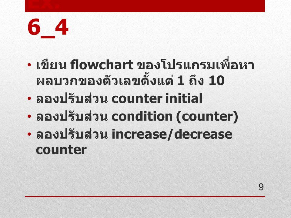 Ex. 6_4 เขียน flowchart ของโปรแกรมเพื่อหา ผลบวกของตัวเลขตั้งแต่ 1 ถึง 10 ลองปรับส่วน counter initial ลองปรับส่วน condition (counter) ลองปรับส่วน incre