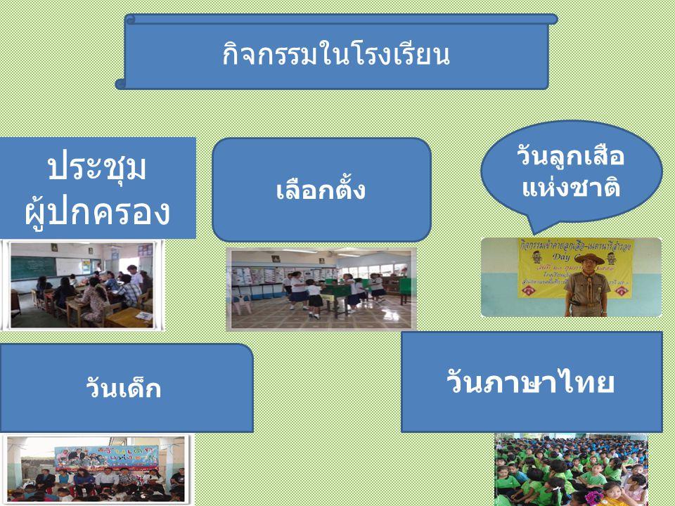 กิจกรรมในโรงเรียน เลือกตั้ง วันลูกเสือ แห่งชาติ วันเด็ก วันภาษาไทย ประชุม ผู้ปกครอง
