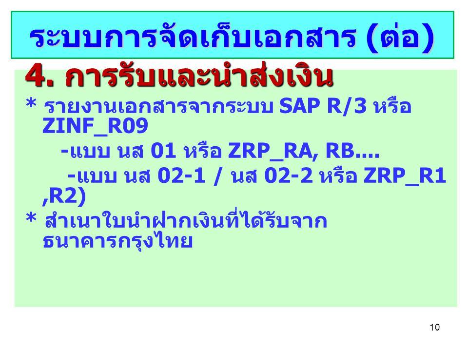 10 4. การรับและนำส่งเงิน * รายงานเอกสารจากระบบ SAP R/3 หรือ ZINF_R09 - แบบ นส 01 หรือ ZRP_RA, RB.... - แบบ นส 02-1 / นส 02-2 หรือ ZRP_R1,R2) * สำเนาใบ