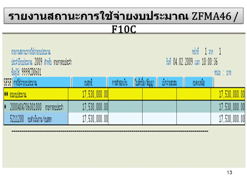 13 รายงานสถานะการใช้จ่ายงบประมาณ ZFMA46 / F10C