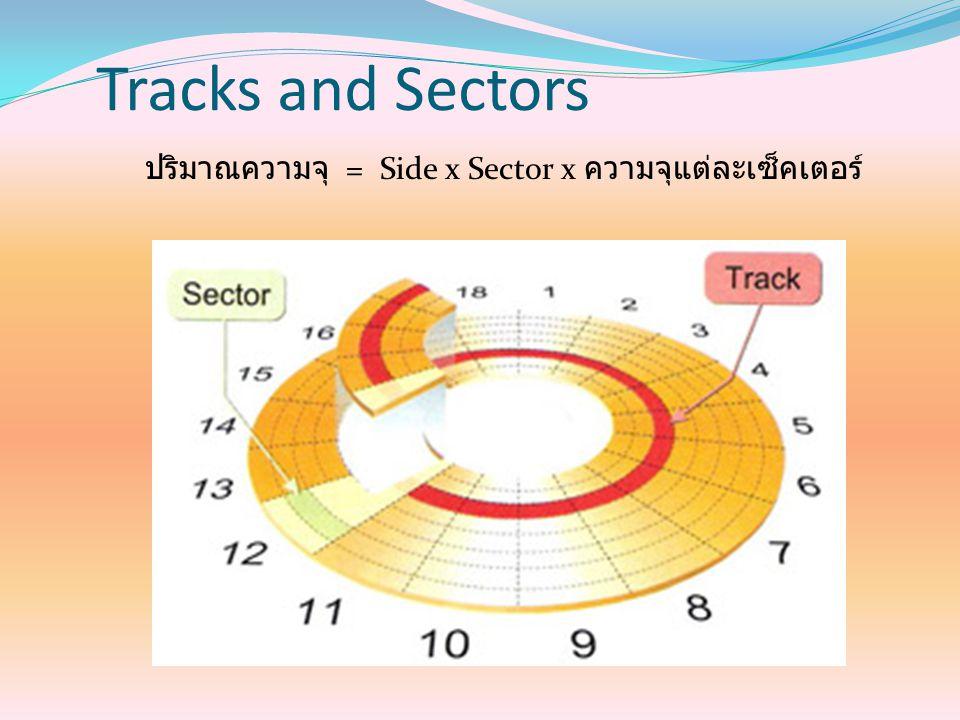 Tracks and Sectors ปริมาณความจุ = Side x Sector x ความจุแต่ละเซ็คเตอร์