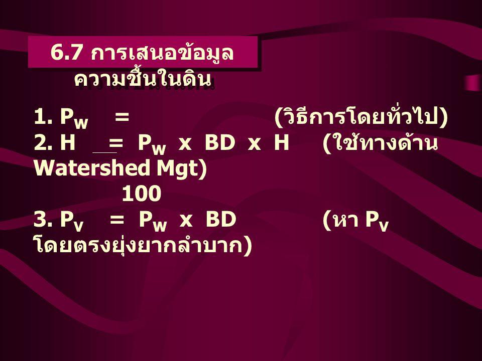 6.7 การเสนอข้อมูล ความชื้นในดิน 1. P W =( วิธีการโดยทั่วไป ) 2. H = P W x BD x H( ใช้ทางด้าน Watershed Mgt) 100 3. P V = P W x BD( หา P V โดยตรงยุ่งยา