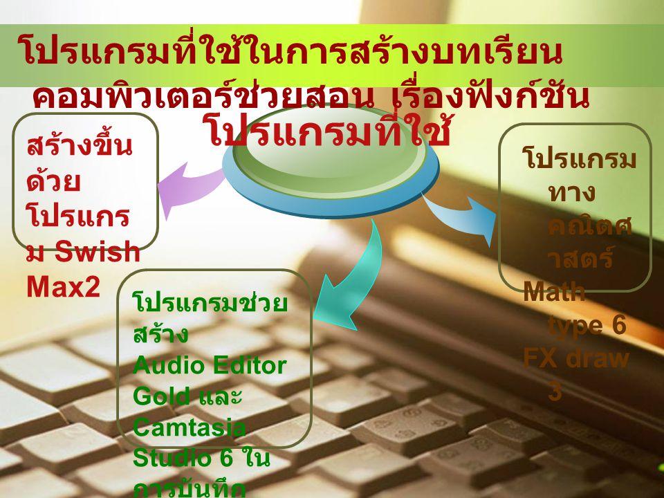 สร้างขึ้น ด้วย โปรแกร ม Swish Max2 โปรแกรมที่ใช้ โปรแกรมช่วย สร้าง Audio Editor Gold และ Camtasia Studio 6 ใน การบันทึก และตัดต่อ เสียง โปรแกรม ทาง คณิตศ าสตร์ Math type 6 FX draw 3 โปรแกรมที่ใช้ในการสร้างบทเรียน คอมพิวเตอร์ช่วยสอน เรื่องฟังก์ชัน