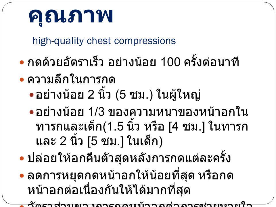 การกดหน้าอกอย่างมี คุณภาพ high-quality chest compressions กดด้วยอัตราเร็ว อย่างน้อย 100 ครั้งต่อนาที ความลึกในการกด อย่างน้อย 2 นิ้ว (5 ซม.) ในผู้ใหญ่ อย่างน้อย 1/3 ของความหนาของหน้าอกใน ทารกและเด็ก (1.5 นิ้ว หรือ [4 ซม.] ในทารก และ 2 นิ้ว [5 ซม.] ในเด็ก ) ปล่อยให้อกคืนตัวสุดหลังการกดแต่ละครั้ง ลดการหยุดกดหน้าอกให้น้อยที่สุด หรือกด หน้าอกต่อเนื่องกันให้ได้มากที่สุด อัตราส่วนของการกดหน้าอกต่อการช่วยหายใจ = 30:2