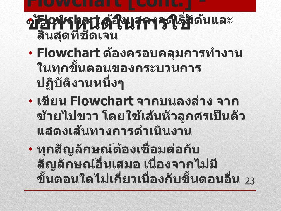 Flowchart [cont.] - ข้อกำหนดในการใช้ Flowchart ต้องแสดงจุดเริ่มต้นและ สิ้นสุดที่ชัดเจน Flowchart ต้องครอบคลุมการทำงาน ในทุกขั้นตอนของกระบวนการ ปฏิบัติ