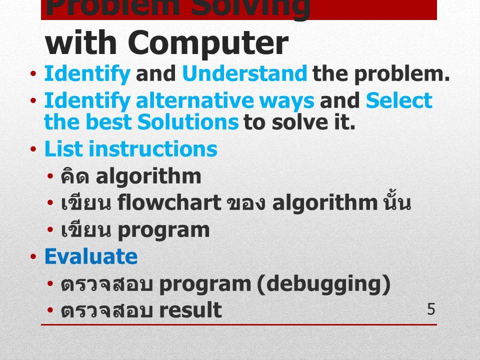 Problem Solving with Computer [cont.] กระบวนการที่มีความสำคัญมาก คือ ขั้นตอนทั้งหมดก่อนที่จะเริ่มเขียน โปรแกรม Identify, Understand, Identify alternative ways, Select the best Solutions, List instructions รู้ว่าจะ สั่ง คอมพิวเตอร์อย่างไร เพื่อให้ คอมพิวเตอร์ช่วยแก้ปัญหา อาจเขียนอธิบายได้ด้วย Flowchart 6