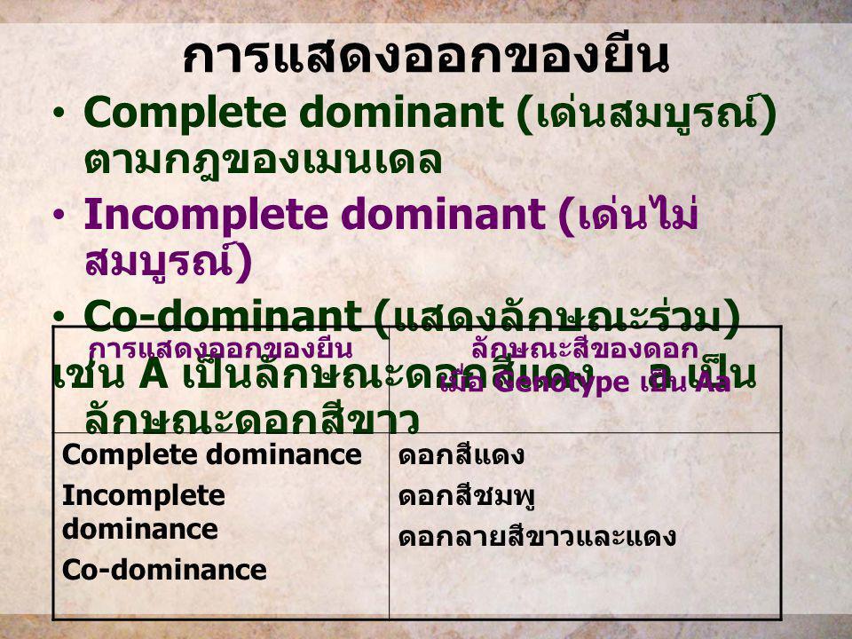 การแสดงออกของยีน Complete dominant ( เด่นสมบูรณ์ ) ตามกฎของเมนเดล Incomplete dominant ( เด่นไม่ สมบูรณ์ ) Co-dominant ( แสดงลักษณะร่วม ) เช่น A เป็นลั