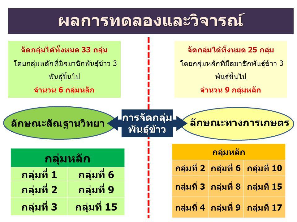 ผลการทดลองและวิจารณ์ การจัดกลุ่มพันธุ์ข้าว ลักษณะสัณฐานวิทยา ลักษณะทางการเกษตร จัดกลุ่มได้ทั้งหมด 33 กลุ่ม โดยกลุ่มหลักที่มีสมาชิกพันธุ์ข้าว 3 พันธุ์ข
