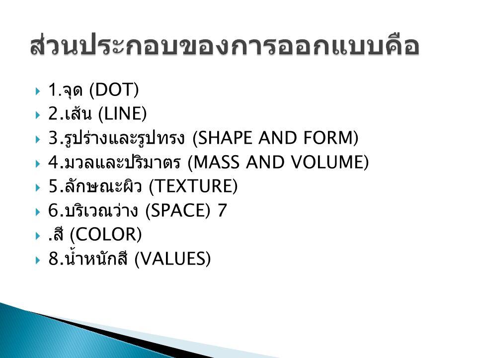  1. จุด (DOT)  2. เส้น (LINE)  3. รูปร่างและรูปทรง (SHAPE AND FORM)  4. มวลและปริมาตร (MASS AND VOLUME)  5. ลักษณะผิว (TEXTURE)  6. บริเวณว่าง (