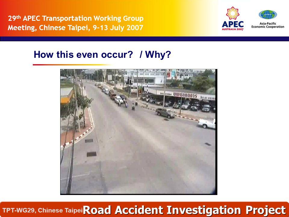 อุบัติเหตุเหล่านี้เกิดได้อย่างไร ? และทำไมจึงเกิด ? Road Accident Investigation Project TPT-WG29, Chinese Taipei 29 th APEC Transportation Working Gro