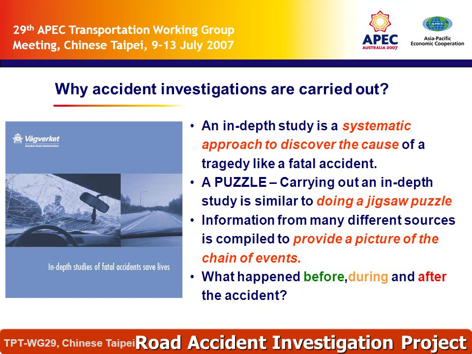  Modification  Defective Equipment  Break System  Wheel and Tire  Illegal Loading (Overload) Vehicle Deficiency Road Accident Investigation Project TPT-WG29, Chinese Taipei