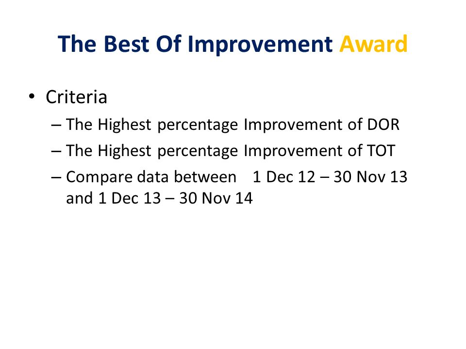 The Best Of Improvement Award Criteria – The Highest percentage Improvement of DOR – The Highest percentage Improvement of TOT – Compare data between