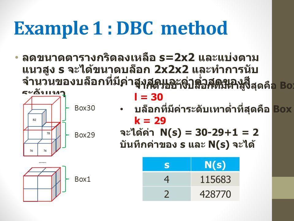 Example 1 : DBC method ลดขนาดตารางกริดลงเหลือ s=2x2 และแบ่งตาม แนวสูง s จะได้ขนาดบล็อก 2x2x2 และทำการนับ จำนวนของบล็อกที่มีค่าสูงสุดและค่าต่ำสุดของสี