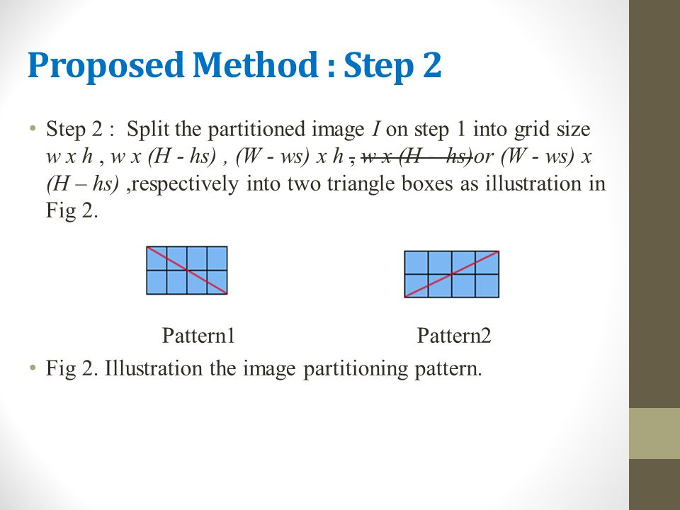 Proposed Method : Step 2 Step 2 : Split the partitioned image I on step 1 into grid size w x h, w x (H - hs), (W - ws) x h, w x (H - hs)or (W - ws) x (H – hs),respectively into two triangle boxes as illustration in Fig 2.