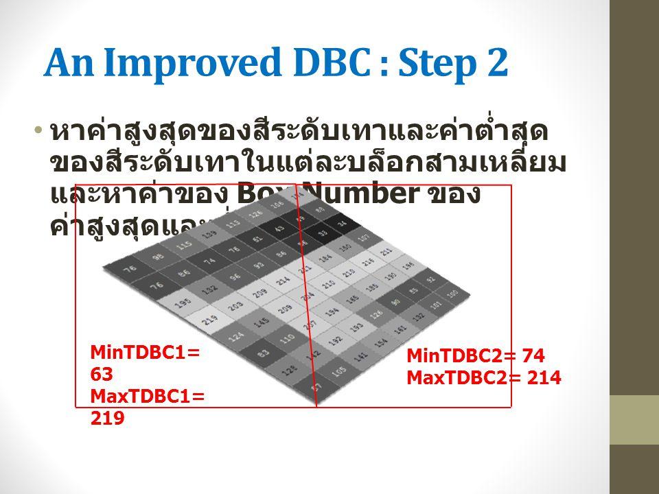 An Improved DBC : Step 2 หาค่าสูงสุดของสีระดับเทาและค่าต่ำสุด ของสีระดับเทาในแต่ละบล็อกสามเหลี่ยม และหาค่าของ Box Number ของ ค่าสูงสุดและต่ำสุด MinTDB