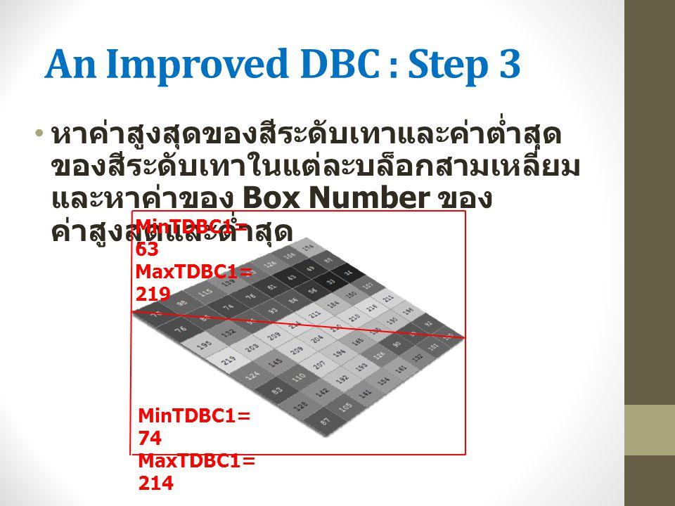 An Improved DBC : Step 3 หาค่าสูงสุดของสีระดับเทาและค่าต่ำสุด ของสีระดับเทาในแต่ละบล็อกสามเหลี่ยม และหาค่าของ Box Number ของ ค่าสูงสุดและต่ำสุด MinTDB