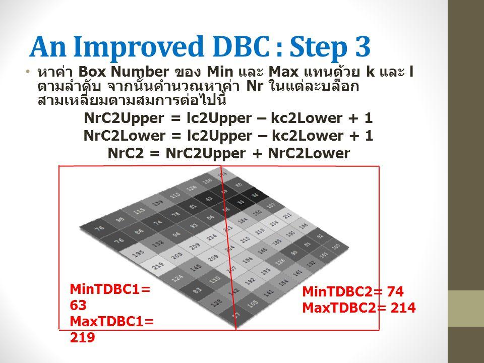 An Improved DBC : Step 3 หาค่า Box Number ของ Min และ Max แทนด้วย k และ l ตามลำดับ จากนั้นคำนวณหาค่า Nr ในแต่ละบล็อก สามเหลี่ยมตามสมการต่อไปนี้ NrC2Up