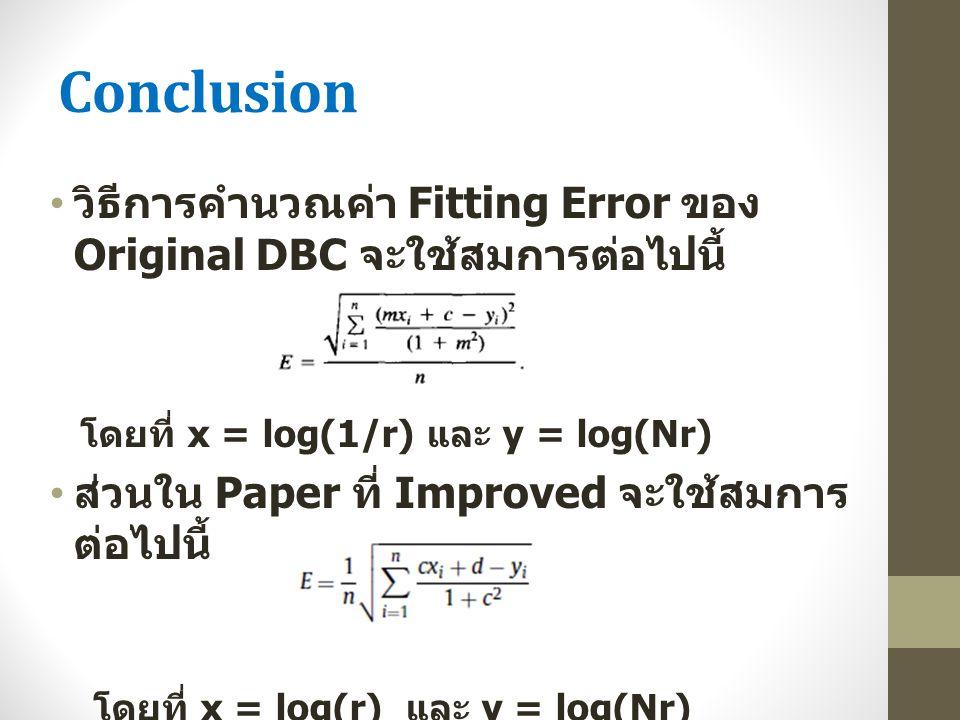 Conclusion วิธีการคำนวณค่า Fitting Error ของ Original DBC จะใช้สมการต่อไปนี้ โดยที่ x = log(1/r) และ y = log(Nr) ส่วนใน Paper ที่ Improved จะใช้สมการ