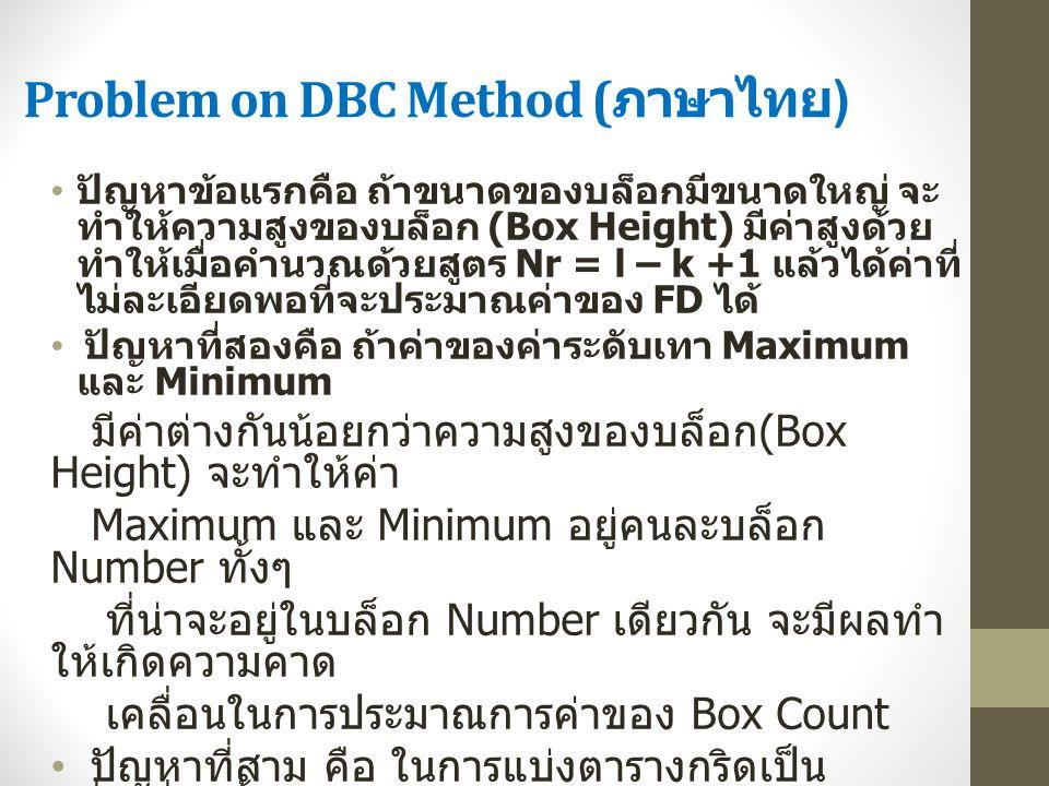Problem on DBC Method ( ภาษาไทย ) ปัญหาข้อแรกคือ ถ้าขนาดของบล็อกมีขนาดใหญ่ จะ ทำให้ความสูงของบล็อก (Box Height) มีค่าสูงด้วย ทำให้เมื่อคำนวณด้วยสูตร N
