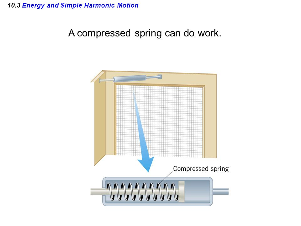 10.3 Energy and Simple Harmonic Motion A compressed spring can do work.