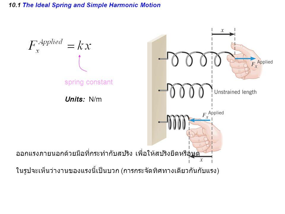 10.1 The Ideal Spring and Simple Harmonic Motion spring constant Units: N/m ออกแรงภายนอกด้วยมือที่กระทำกับสปริง เพื่อให้สปริงยืดหรือหด ในรูปจะเห็นว่างานของแรงนี้เป็นบวก ( การกระจัดทิศทางเดียวกันกับแรง )