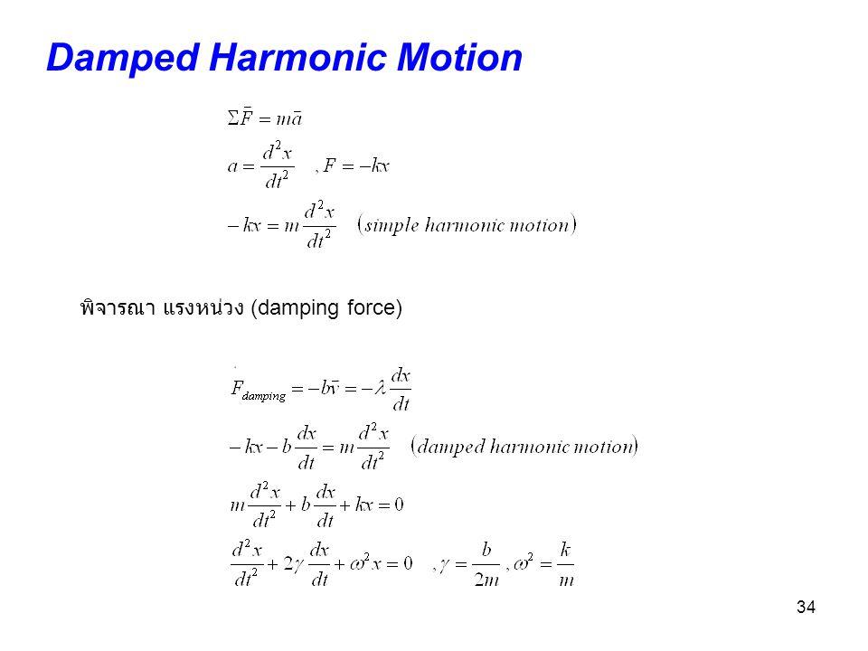 34 Damped Harmonic Motion พิจารณา แรงหน่วง (damping force)