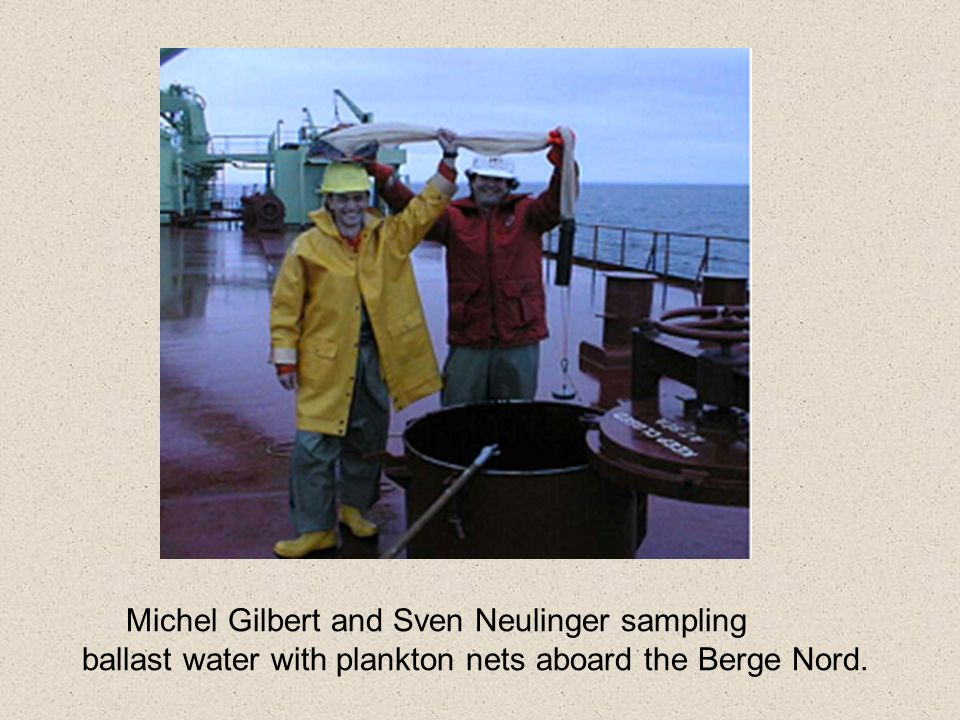 Michel Gilbert and Sven Neulinger sampling ballast water with plankton nets aboard the Berge Nord.