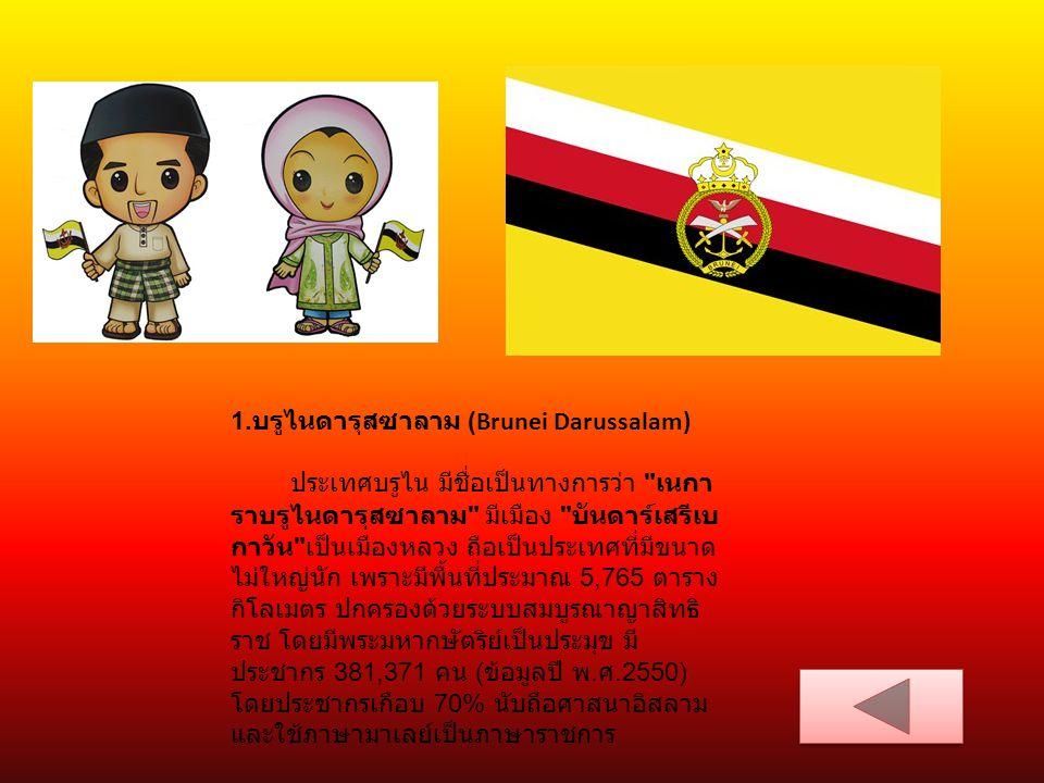 10 ประเทศ อาเซียน ประเทศมาเลเซีย (Malaysia)มาเลเซีย ราชอาณาจักรราชอาณาจักรไทย (Kingdom of Thailand) บรูไนดารุสซาลาม (Brunei Darussalam)Darussalam ราชอาณาจักร ราชอาณาจักร กัมพูชา (Kingdom of Cambodia) สาธารณรัฐ สาธารณรัฐ อินโดนีเซีย (Republic of Indonesia).