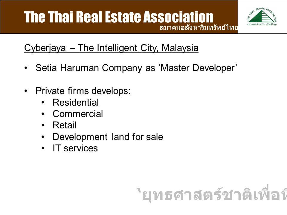 The Thai Real Estate Association สมาคมอสังหาริมทรัพย์ไทย Cyberjaya – The Intelligent City, Malaysia Setia Haruman Company as 'Master Developer' Private firms develops: Residential Commercial Retail Development land for sale IT services ' ยุทธศาสตร์ชาติเพื่อที่อยู่อาศัย '