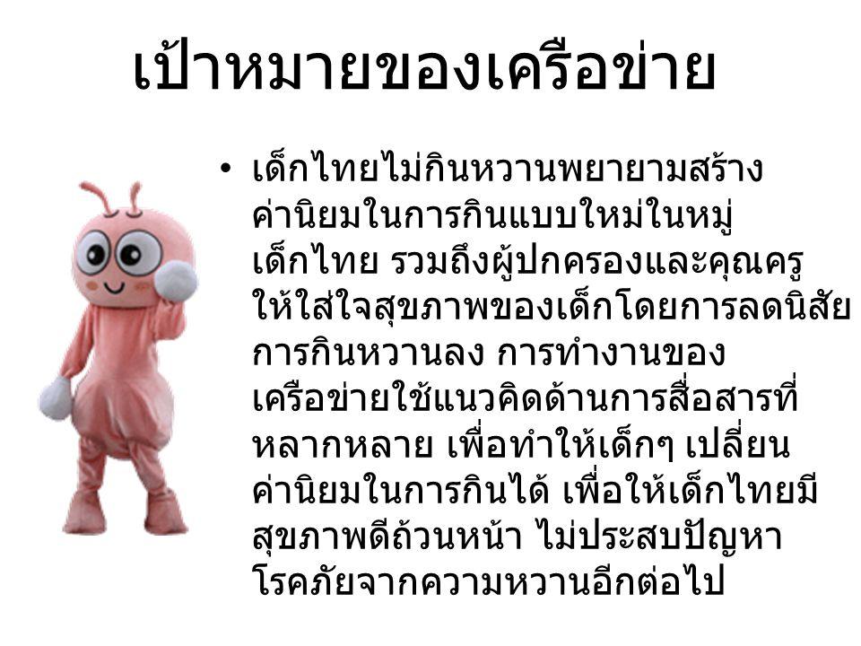 เป้าหมายของเครือข่าย เด็กไทยไม่กินหวานพยายามสร้าง ค่านิยมในการกินแบบใหม่ในหมู่ เด็กไทย รวมถึงผู้ปกครองและคุณครู ให้ใส่ใจสุขภาพของเด็กโดยการลดนิสัย การกินหวานลง การทำงานของ เครือข่ายใช้แนวคิดด้านการสื่อสารที่ หลากหลาย เพื่อทำให้เด็กๆ เปลี่ยน ค่านิยมในการกินได้ เพื่อให้เด็กไทยมี สุขภาพดีถ้วนหน้า ไม่ประสบปัญหา โรคภัยจากความหวานอีกต่อไป