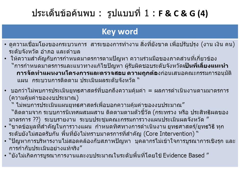 ประเด็นข้อค้นพบ : รูปแบบที่ 2 : F & G (3) Key word  มีการประชุมหน่วยงานย่อยที่เป็นพื้นที่นำร่อง ร่วมวางแผนแก้ปัญหา  ใช้ปัญหาเป็นตัวตั้ง  ขาดข้อมูลที่สำคัญในการวางแผนกำหนดทิศทางการดำเนินงาน  ยุทธศาสตร์/ยุทธวิธี ทุกระดับยังไม่สอดรับกัน  พื้นที่ยังไม่ทราบมาตรการที่สำคัญ(Core Intervention)  โครงการยังไม่มีการบูรณาการกลุ่มเป้าหมายและงบประมาณ  การกำหนดเกณฑ์การคัดเลือกกลุ่มเสี่ยงยังไม่ชัดเจน  ไม่ให้ความสำคัญกับการติดตามประเมินผลอย่างต่อเนื่อง  การดำเนินตามมาตรการหลัก : ส่วนใหญ่ครบทุกมาตรการยกเว้นมาตรการลดเสี่ยงในชุมชน  ช่องว่างการบูรณาการแผนส่งเสริมสุขภาพ ป้องกันควบคุมโรคเรื้อรังระดับจังหวัด/ อำเภอ กับ ระดับตำบล  การวิเคราะห์สภาพปัญหาของพื้นที่ขึ้นอยู่กับศักยภาพของ จนท.สอ.